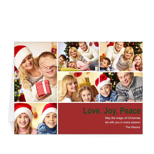 Custom Printed 6 Photo Collage Peace Health Hope  Red Greeting Card
