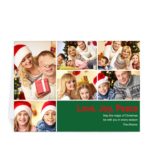 Custom Printed 6 Photo Collage Peace Health Hope  Green Greeting Card