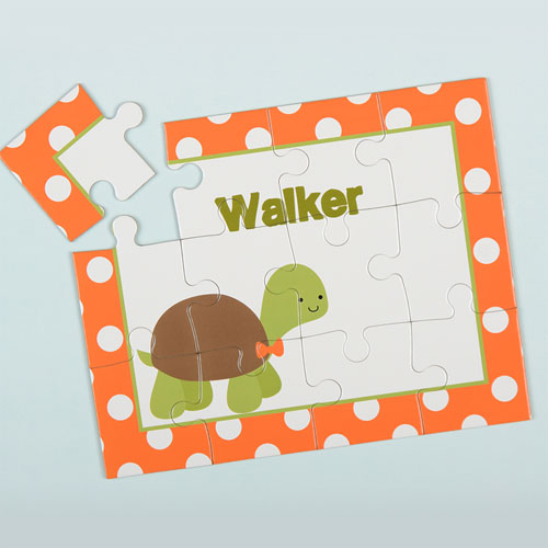 Polka Dot Turtle Personalized Kids Puzzle