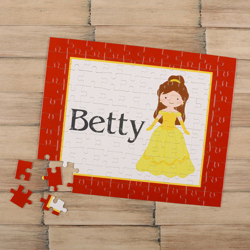 Little Princess Personalized Kids Puzzle, Brown Hair