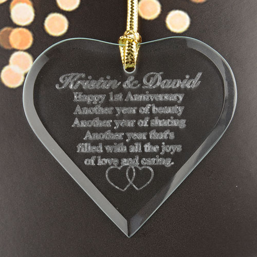 Anniversary Heart Personalized Engraved Glass Ornament