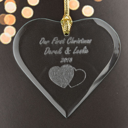 Interlocking Hearts Personalized Engraved Glass Ornament