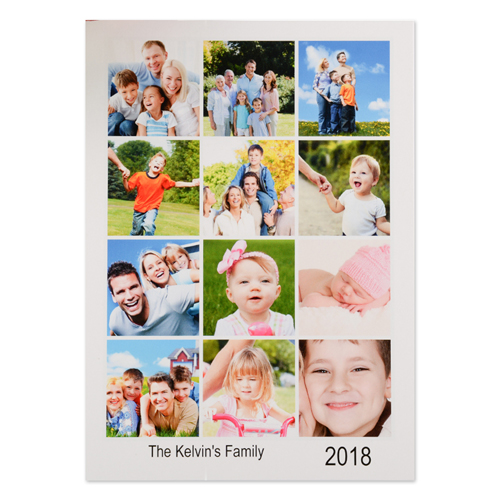 White Twelve Collage Personalized Photo Christmas Card