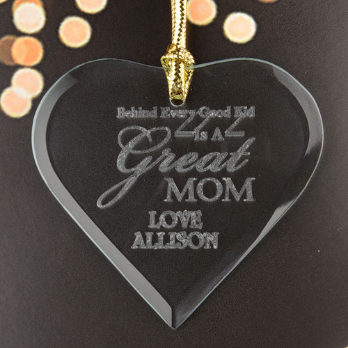 Great Mom Personalized Engraved Glass Ornament