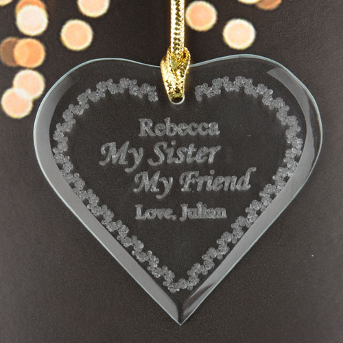 My Sister My Friend Personalized Engraved Glass Ornament