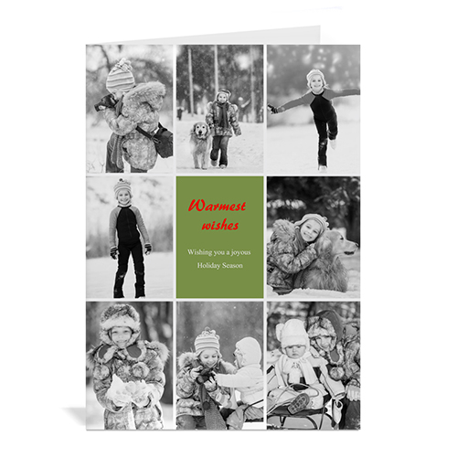 Custom Printed 8 Photo Collage Merriest Wish _ Green Greeting Card