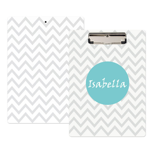 Monogrammed Grey Chevron Personalized Clipboard