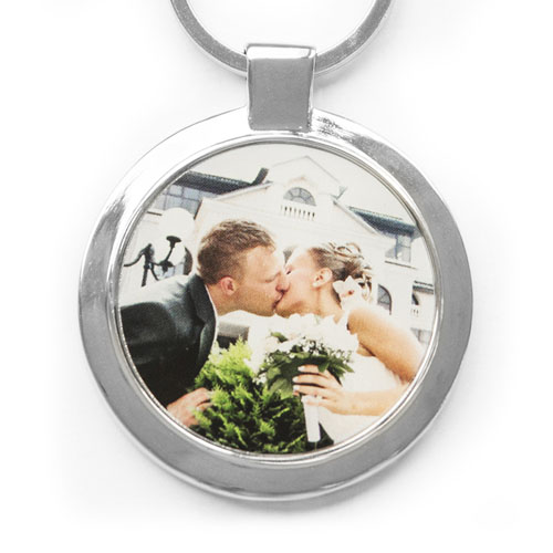 Personalized Photo Round Metal Keychain (Large)