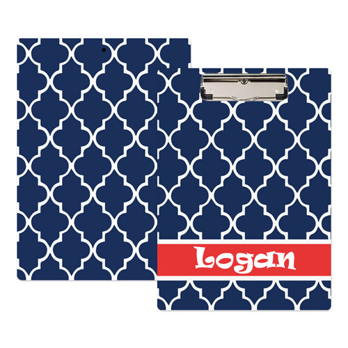 Navy Moroccan Personalized Clipboard