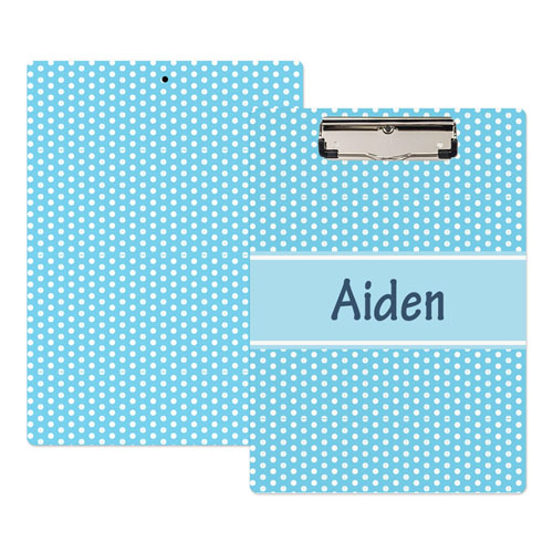 Aqua Polka Dot Personalized Clipboard
