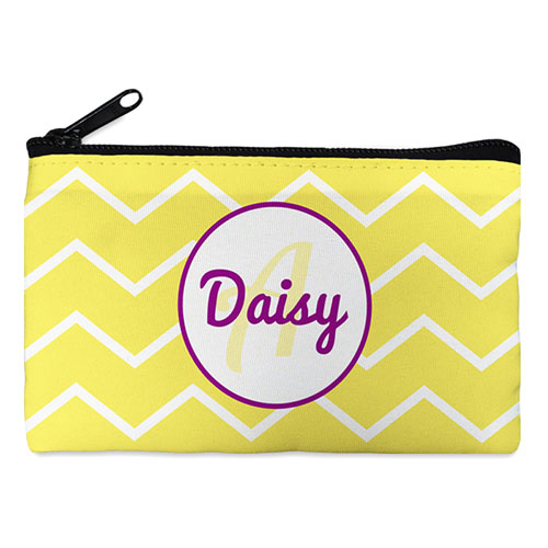Yellow Chevron Purple Frame Personalized Cosmetic Bag
