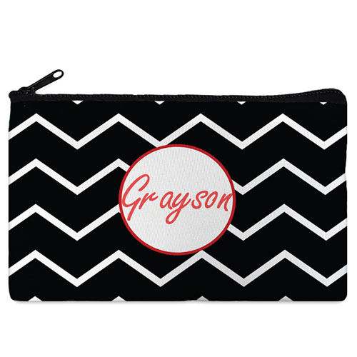 Black Chevron Red Frame Personalized Cosmetic Bag