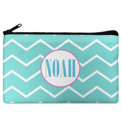 Aqua Chevron Pink Frame Personalized Cosmetic Bag