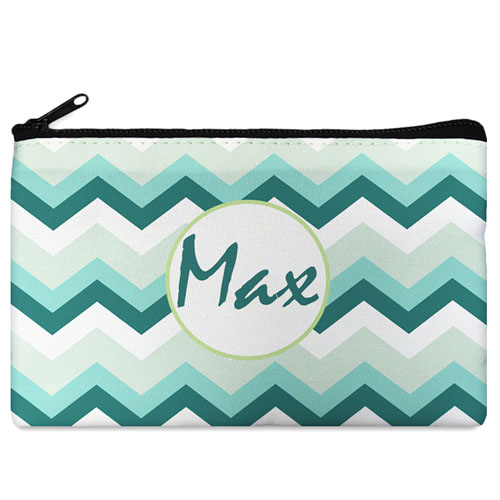 Turquoise Grey Chevron Personalized Cosmetic Bag