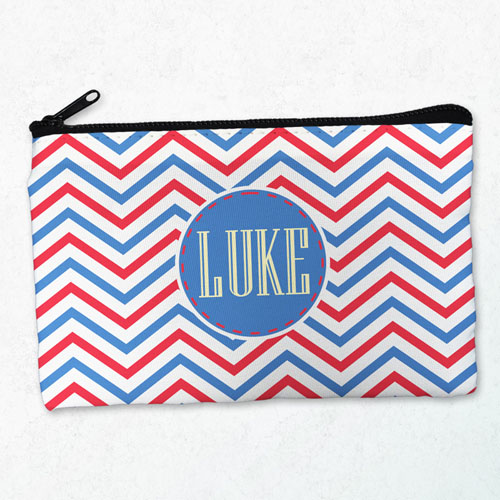 Navy Red Chevron Personalized Cosmetic Bag