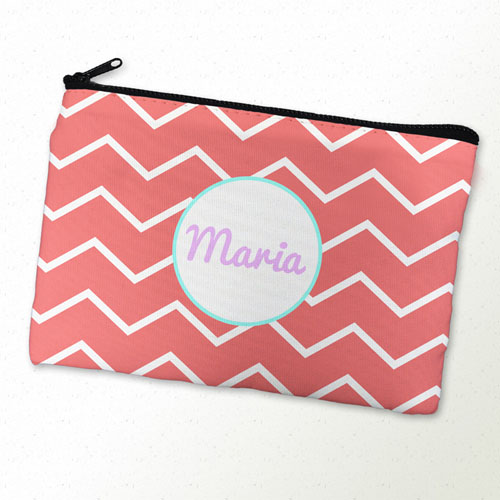 Carol Chevron Aqua Frame Personalized Cosmetic Bag
