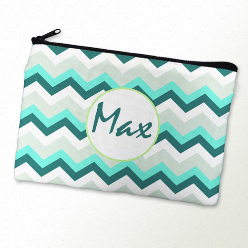 Turquoise Grey Chevron Personalized Cosmetic Bag 6X9