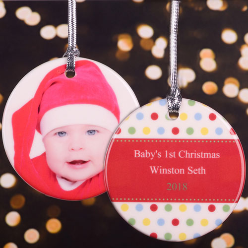 Polka Dot Personalized Photo Ornament