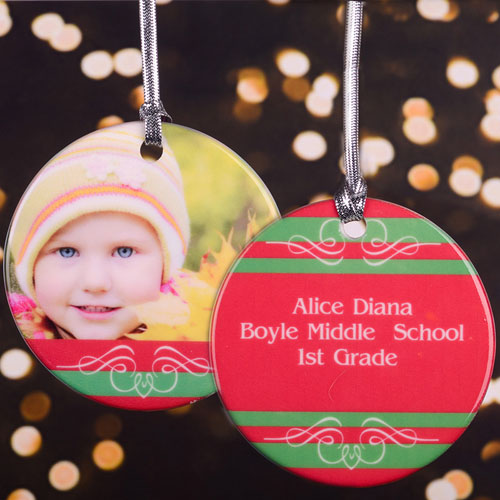 Swirl & Stripe Personalized Photo Porcelain Ornament