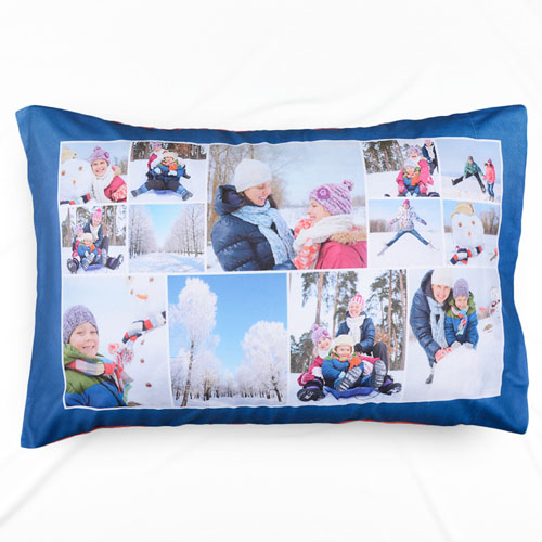 Navy Personalized Collage Pillowcase