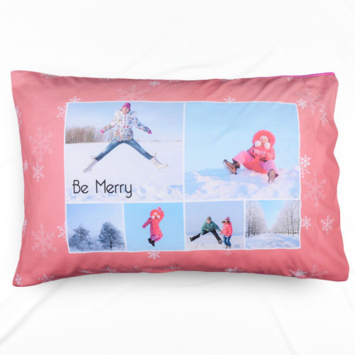 Snowflake Collage Personalized Photo Pillowcase
