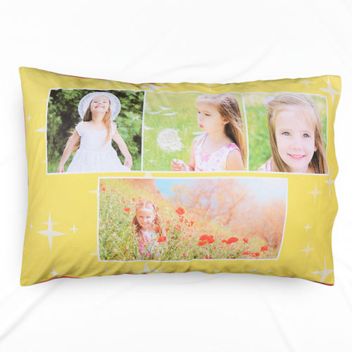 Mustard Star Collage Personalized Pillowcase