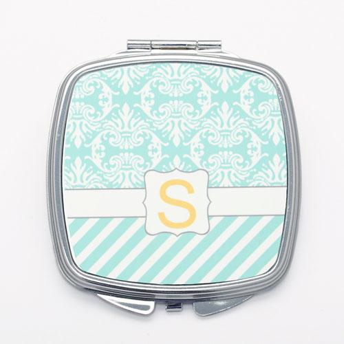 Aqua Vintage Stripe Personalized Square Mirror