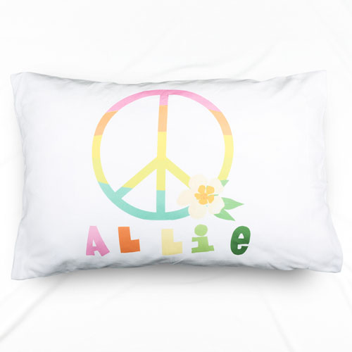 Peace Sign Personalized Name Pillowcase