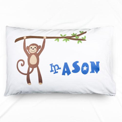 Monkey Personalized Name Pillowcase For Boys
