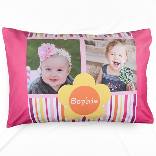 Stripe And Flower Collage Personalized Pillowcase