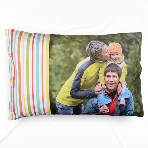 Mint Stripe Personalized Photo Pillowcase