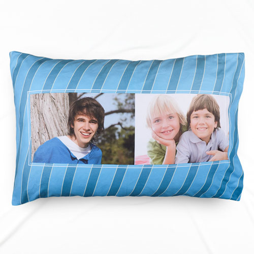Blue Stripe Two Collage Personalized Photo Pillowcase