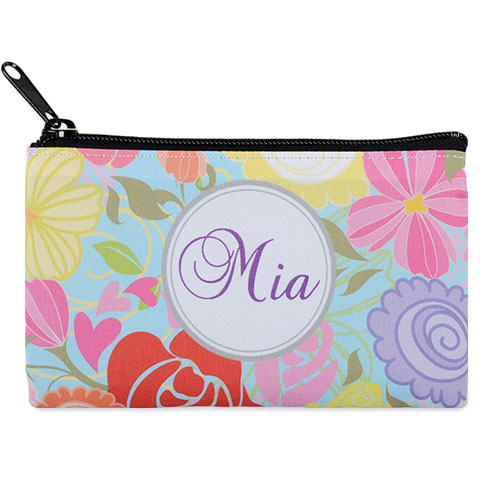 Tropical Floral Personalized Cosmetic Bag Medium