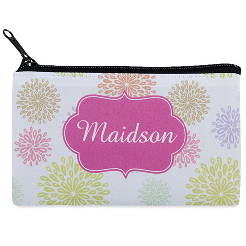 Summer Floral Personalized Cosmetic Bag Medium