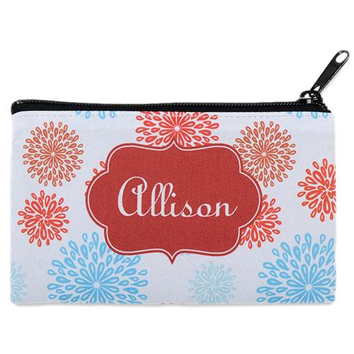 Sea Floral Personalized Cosmetic Bag Medium