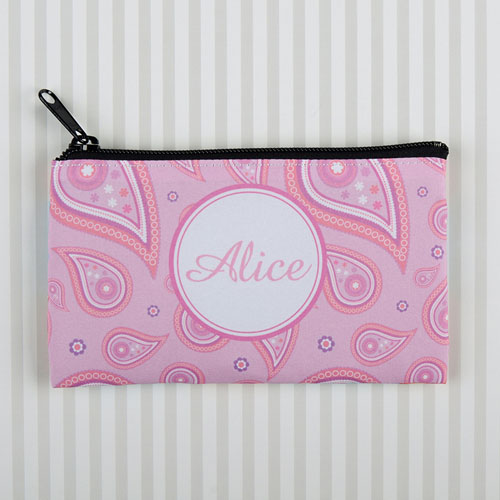 Pink Vintage Personalized Cosmetic Bag 6X9