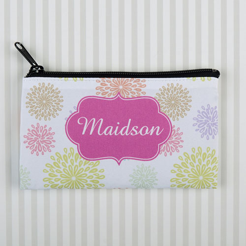 Summer Floral Personalized Cosmetic Bag 6X9