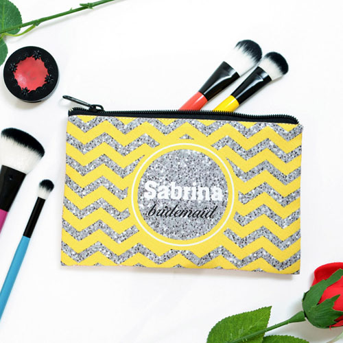 Yellow Glitter Chevron Personalized Cosmetic Bag