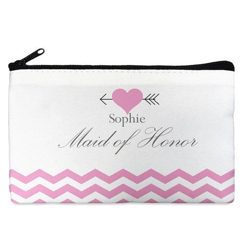Pink Love Arrow Personalized Cosmetic Bag, Medium