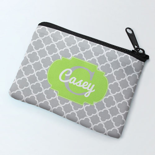 Grey Clover Lime Personalized Coin Purse