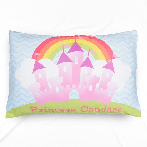 Pink Castle Personalized Name Pillowcase