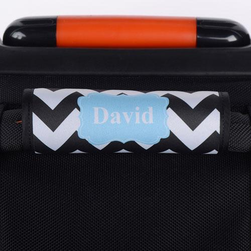 Black Chevron Aqua Personalized Luggage Handle Wrap