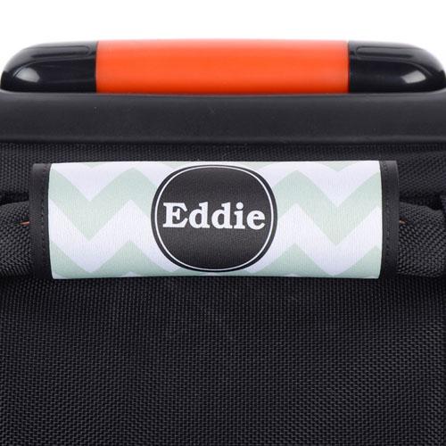 Aqua Chevron Black Personalized Luggage Handle Wrap