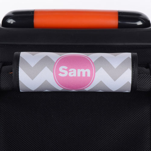 Grey Chevron Pink Personalized Luggage Handle Wrap