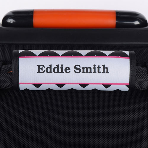 Black Chevron Fuchsia Personalized Luggage Handle Wrap
