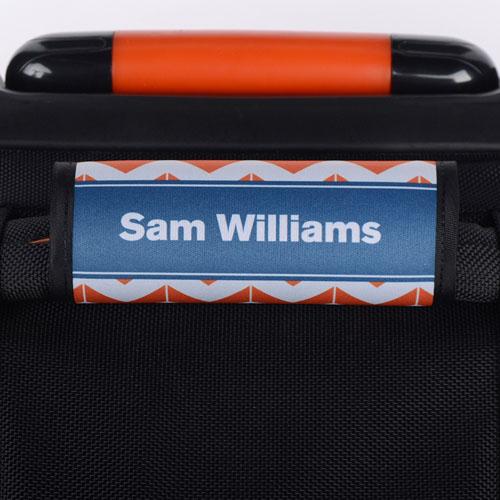 Orange Striped Chevron Navy Personalized Luggage Handle Wrap