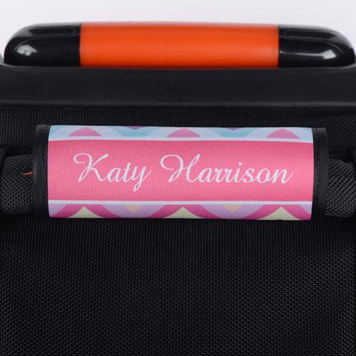Rainbow Chevron Personalized Luggage Handle Wrap
