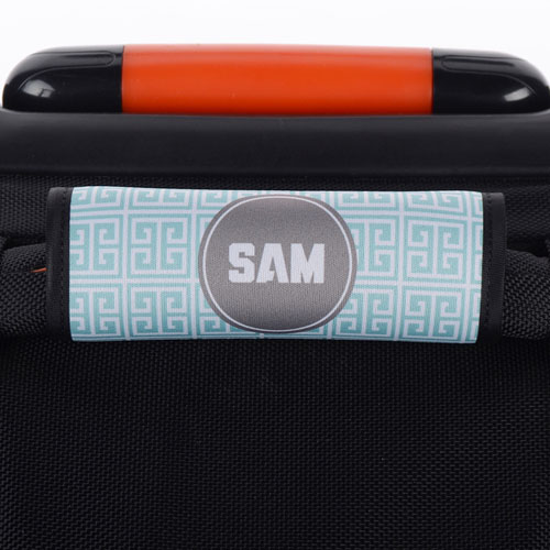 Aqua Grey Greek Key Personalized Luggage Handle Wrap