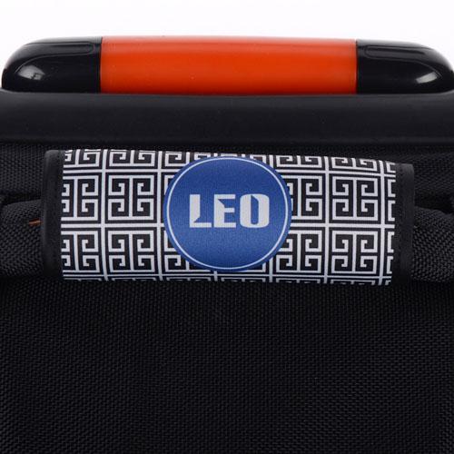 Black Greek Key Personalized Luggage Handle Wrap
