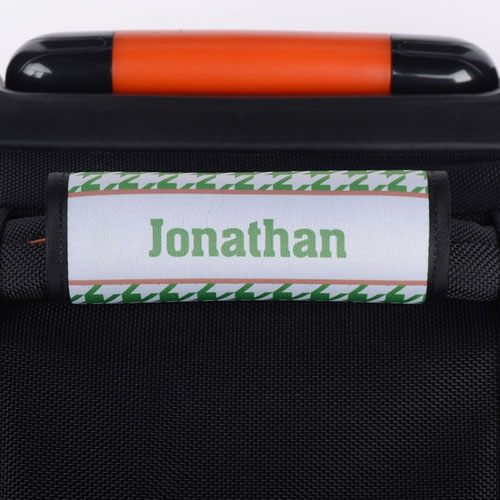 Green Hounds Tooth Personalized Luggage Handle Wrap